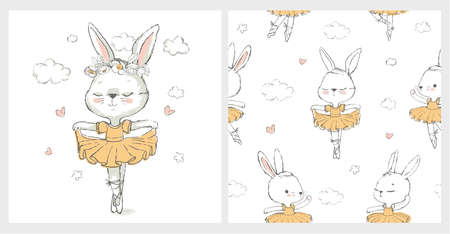 Seamless pattern with the sweet ballerina bunny illustration vector for print design and other uses.. Can be used for t-shirt print, kids wear fashion design, baby shower invitation card.