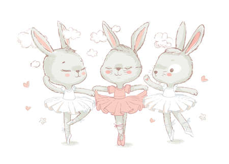 3 Sweet ballerina bunnies illustration vector for print design and other uses. White dancing rabbits illustration. Can be used for t-shirt print, kids wear fashion design, baby shower invitation card.