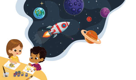 Cute preschool kids draw planets and imagine their self travel on the rocket. Space, rockers stars, galaxy, and planets in the background. Kids Imagination and exploration concept