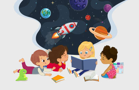 Illustration of multiracial kids sit in a circle on the floor and read the astronomy book. Imaging space, rockers stars, galaxy, and planets. Reading and exploring concept.