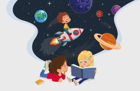 Illustration of two girls sitting on the floor and reading the book about astronaut adventure. Space, rockers stars, galaxy, and planets in the background. Reading and exploring concept