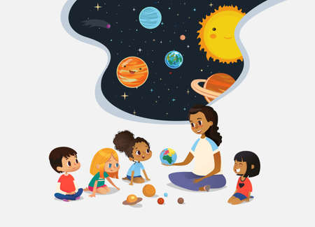 Female teacher demonstrates Earth model to children and tells them about universe children sit on floor in circle and listen to her. Preschool activities and early childhood education. Vector illustration for poster, website.