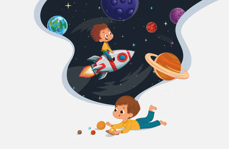 Cute preschool boy sit on the floor and play with the toy planets and imagine himself travel on the rocket. Space, rockers stars, galaxy, and planets in the background. Kids Imagination and exploration concept.