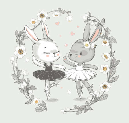 Illustration of two grey and white dancing ballerina bunnye. Little rabbits girls dancing. Wreath with beautiful flowers in the background. Can be used for t-shirt print, kids wear fashion design,