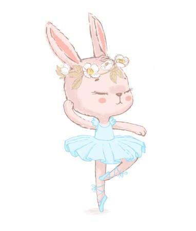Sweet dancing ballerina bunny illustration. Dancilg little rabbit wearing blue tutu ans wreath. Can be used for t-shirt print, kids wear fashion design, baby shower invitation card. Vektorgrafik