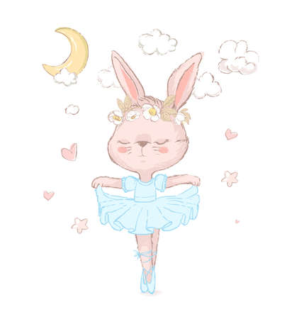 Illustration of a sweet bunny dancing over stars. Dancilg little rabbit wearing blue tutu ans wreath. Can be used for t-shirt print, kids wear fashion design, baby shower invitation card