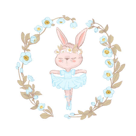 Illustration of a sweet bunny surrounded by beautifull blue flowers wreath. Dancilg little rabbit wearing blue tutu ans wreath. Can be used for t-shirt print, kids wear fashion design, baby shower invitation card Illustration