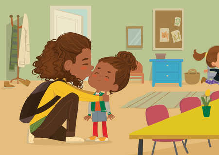 Illustration of a Mother Gives a Goodbye Kiss to her daughter. African-American Mum Gives Kiss to the child at the school door. Preschool girl say hello to mom at Montessori school. Vector illustration.