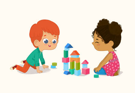 Preschool Red Hair Boy and African American Girl Kids playing with wooden bricks and blocks together in kindergarten room. Vector illustration isolated on white background. Illustration