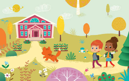 Vector illustration of two kids with the backpacks are going to school. Preschool friends Redhair boy and African American girl walks to school