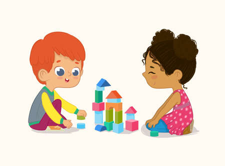 Preschool Red Hair Boy and African American Girl Kids playing with wooden bricks and blocks together in kindergarten room. Vector illustration isolated on white background. Standard-Bild