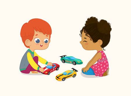 Illustration of Cute Boy and Girl Playing with Their Toys Cars. Red hair boy shows and shares his Toy Cars to His African-American Friend.
