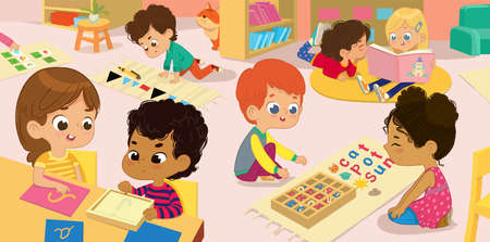 The Literature Area of Montessori Class. Children practice writing letters parts of the speech and words. Girls are reading books to each other in a book corner Illustration