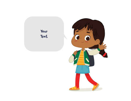 Vector illustration of the Latino Girl with the backpack goes to school. Preschool boy walks to the school. Dark Skin boy and speech bubble with place for text isolated on white background.