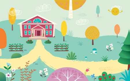 Illustration of empty yard and school. Road to the School. Summer kids landscape with the trees, flowers, mushrooms and plants.