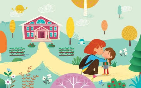 Illustration of a Mother Gives a Goodbye Kiss to her daughter. Mum Gives Kiss to the child at the school door. Preschool girl say hello to mom at school. Vector illustration. Illustration