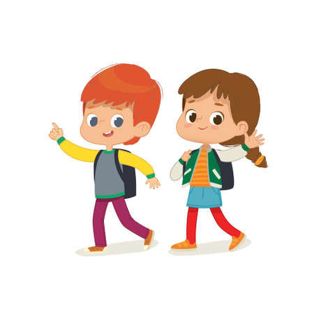 Vector illustration of two kids with the backpacks are going to school. Preschool friends boy and girl are walk to school. Brother and sister isolated. Vectores