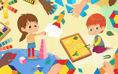 Kids do sensorial activity in Montessori class. Girl with dark hair stands and builds pink tower using pink cubes. Boy do leaf cabinet. Montessori materials concept. illustration for poster, banner, website, flyer, advertisement