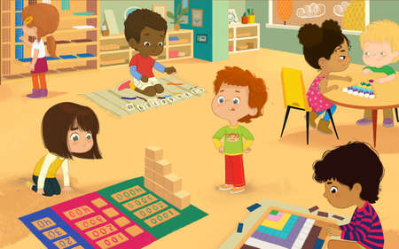 Montessori Class with golden materials. Multicultural boys and girls learning Maths through play Decanomial Square, Bead Cabinet, Dynamic Subtraction, Girl sit along and do multiplication with Beads. Standard-Bild