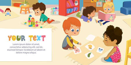 Kids playing with bricks and educational games in kindergarten room. Kids play together in kindergarden. Poster with the place for your text. Playroom with children. Illustration
