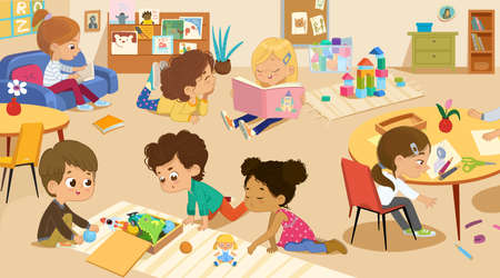Happy creative kids play with educational toys, painting, cutting paper, sketching, reading play with toy blocks, education and enjoyment concept