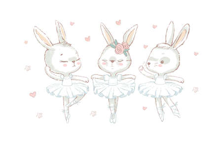3 white ballerina rabbits wearing white. White dancing rabbits illuatration. Vector illustration for print design and other uses. Can be used for t-shirt print, kids wear fashion design, baby shower invitation card