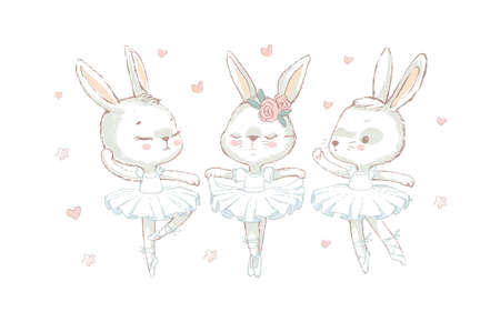 3 Sweet ballerina bunnys illustration vector. White dancing rabbits illuatration. Can be used for t-shirt print, kids wear fashion design, baby shower invitation card