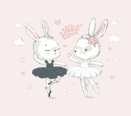 Illustration of two White dancing ballerina bunnyes. Little rabbits dancing girls over Pink. Sweet Dance. Can be used for t-shirt print, kids wear fashion design