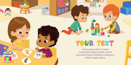 Preschool Class. Multicultural Kids play with bricks and educational games in kindergarten room. Poster with the place for your text. Playroom with children