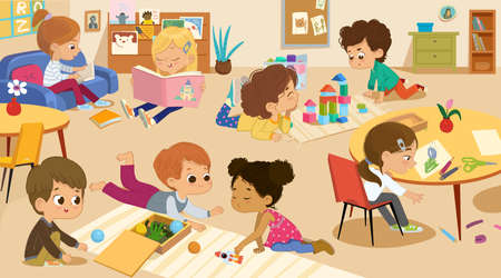 Kids playing with bricks and educational games in kindergarten room. Kids play together in kindergarden. Poster with the place for your text. Playroom with children Illustration