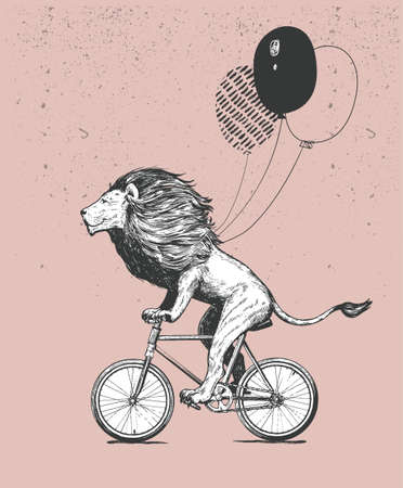 Cool Lion Wearing Stripped T-shirt Rides Bicycle with Balloons Vector Illustration. Vintage Mascot Cute Lion Cycle Bike Isolated on White. Happy Birthday Animal Character Black and White Sketch. Flat Outline Grunge Drawing