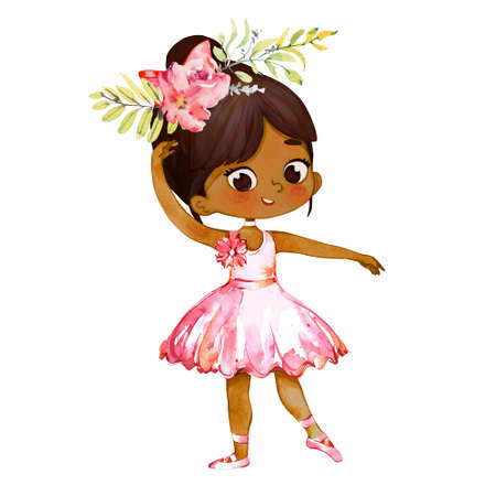 Tiny African American Ballerina Baby Girl Character Dancing Wearing Pink. Elegant Little Girl Child Posing Training Ballet. Poster Design for Print. Watercolor Cartoon Illustration. Isolated.