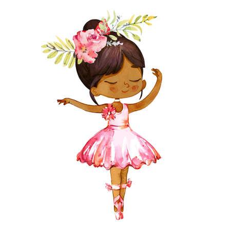 Dancing Latino Dark Skin Ballerina Baby Girl Wearind Pink Dress. Elegant Little Child Posing Training Ballet Collection Poster Design for Print. Watercolor Cartoon Illustration. Isolated