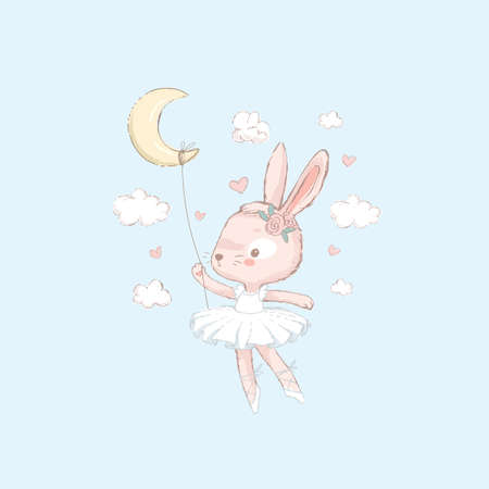 Sweet dancing ballerina bunny illustration. Dancilg little rabbit wearing blue tutu ans wreath. Can be used for t-shirt print, kids wear fashion design, baby shower invitation card