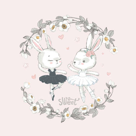 Illustration of two grey and white dancing ballerina bunnyes. Little rabbits girls dancing. Wreath with beautiful flowers in the background. Illustration