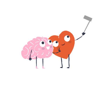 Cartoon Heart and Brain take selfie. Happy Valentines Day Design.