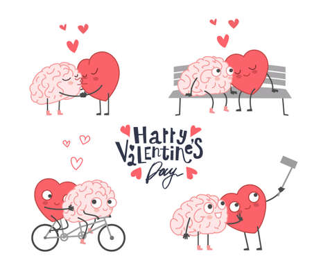 Big Set of Happy Valentines Day Theme Icons. Heart and Mind Relationship. Heart and Brain Fell in Love