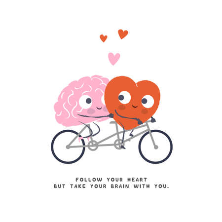 Cartoon Illustration of the Heart and Brain ride Bicycle. Heart and Brain fall in love. Happy Valentines Day Lettering.  イラスト・ベクター素材
