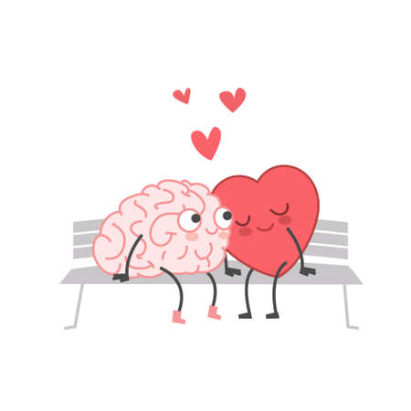 Cartoon Illustration of the Heart and Brain sit on the Bench and Kiss. Heart and Brain are in love hold hands and kiss each other. Happy Valentines Day Lettering.  イラスト・ベクター素材