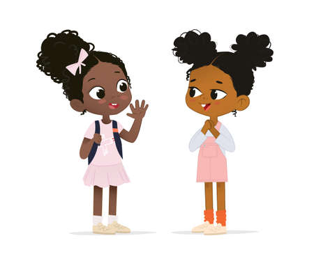 Two African American girls talk to each other. School girl say hello to her new friend. School friends have fun
