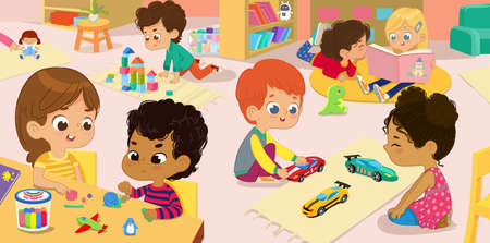Illustration of the kindergarten class and childrens activity in the kindergarten. Multicultural Kids reading books, playing with wooden blocks and toy cars, sculpt clay figures. Векторная Иллюстрация