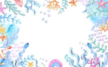 Underwater Watercolor Background. Seaweeds, fish. starfish corals, rainbow, shells sea elements. Cartoon kids illustration 免版税图像