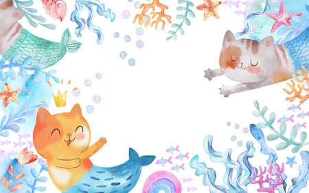 Underwater Watercolor Background with Cat-Mermaid, Purrmaid, Seaweeds, fish. starfish corals, rainbow, shells sea elements. Cartoon kids illustration