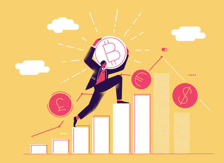 Cryptocurrency exchange vector concept. Man takes bitcoin and climbs chart. Currency exchange, online banking, payment by cryptocurrency. Vector illustration.