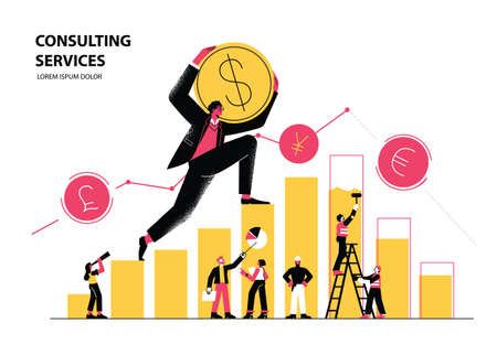 Man climbs chart, and carries Dollar Coin. Financial advisor illustration, investment management, money growth and profit chart, career growth to success, market and currency exchange, business analysis, vector illustration. 矢量图像