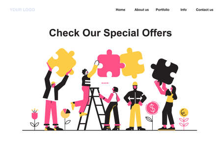 Business concept. Team metaphor. people connecting puzzle elements. Vector illustration flat design style. Symbol of teamwork, cooperation, partnership vector 矢量图像