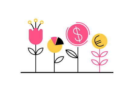 Planting the seed of the dollar, euro and financial well-being. Financial growth concept. Vector illustration in flat style 矢量图像