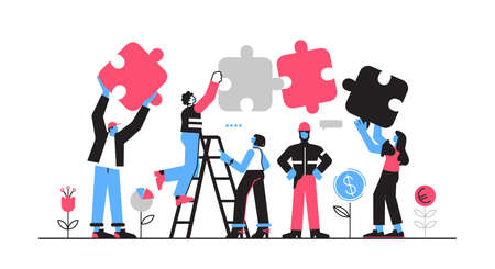 Business concept. Team metaphor. people connecting puzzle. Vector illustration flat design style. Symbol of teamwork, cooperation, partnership.