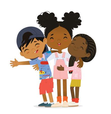 Happy African American multi aged kids hug. Happy kids embrace 矢量图像