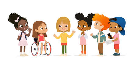 A group of multicultural children are talking to each other. Children greet a new girl in a wheelchair, greet a new friend. The concept of inclusive education at school. Asian boy scanning QR code. School friends are having fun. Vecteurs